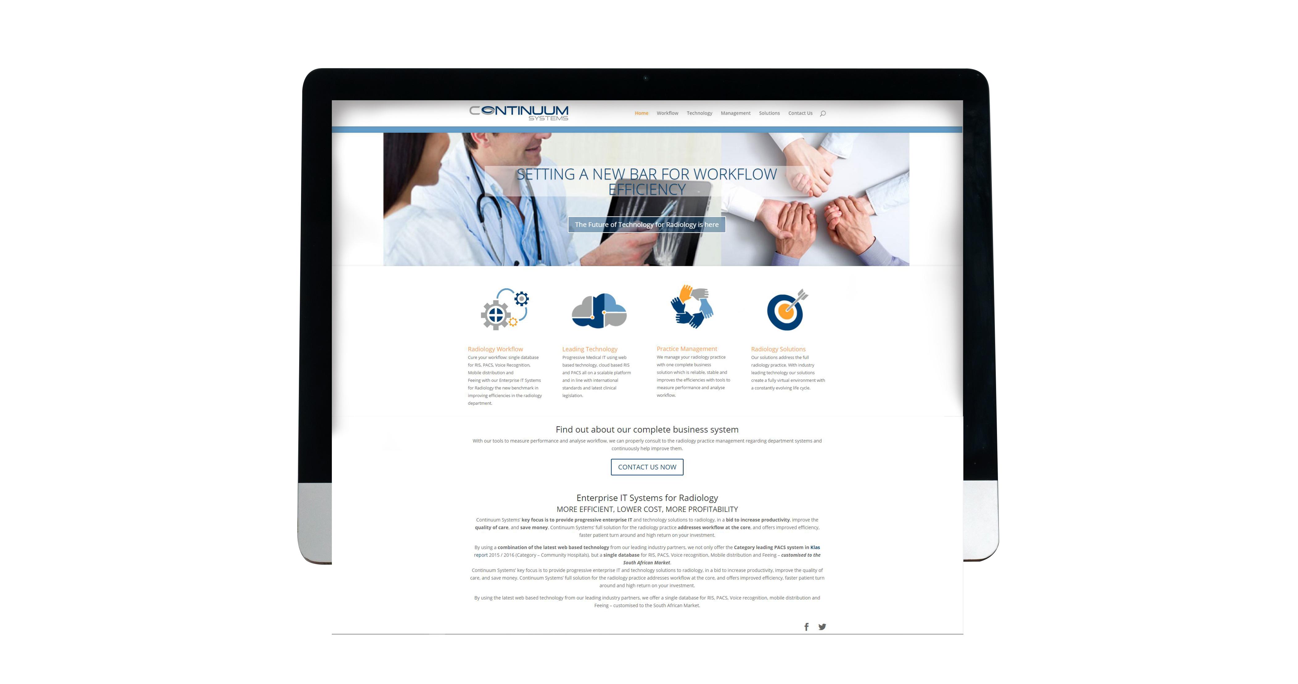 Continuum Systems website design radiology workflow